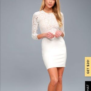 She Knows White Lace Bodycon Dress